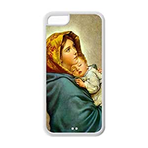 Back Soft TPU Case Custom DIY Virgin Mary Christian and Child Baby Jesus Protective Soft TPU Case for iPhone 5C (White 020331)