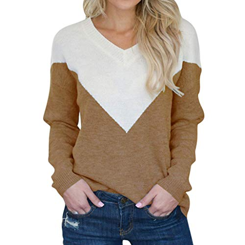 Aunimeifly Trendy Women V-Neck Sweater Casual Blouse Color Block Patchwork T-Shirt Knitting Long Sleeve Tops(XL,Coffee)