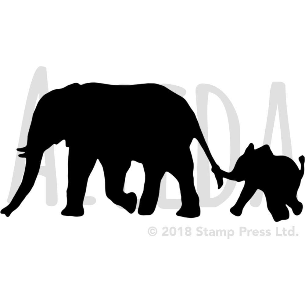 Azeeda Large A2 Elephant /& Calf Silhouette Wall Stencil WS00033101 Template