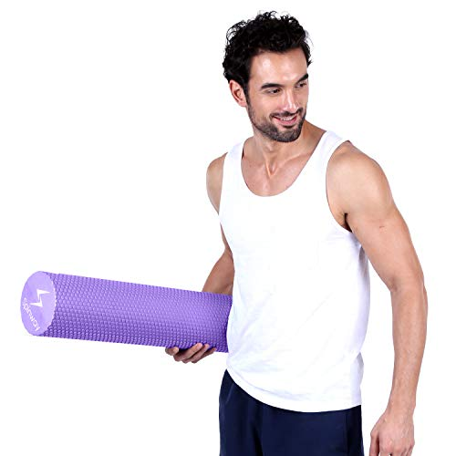 spinway Yoga Foam Roller Speckled Foam Rollers for Muscles Extra Firm High Density for Physical Therapy Exercise Deep Tissue Muscle Massage (Puple) by spinway (Image #6)
