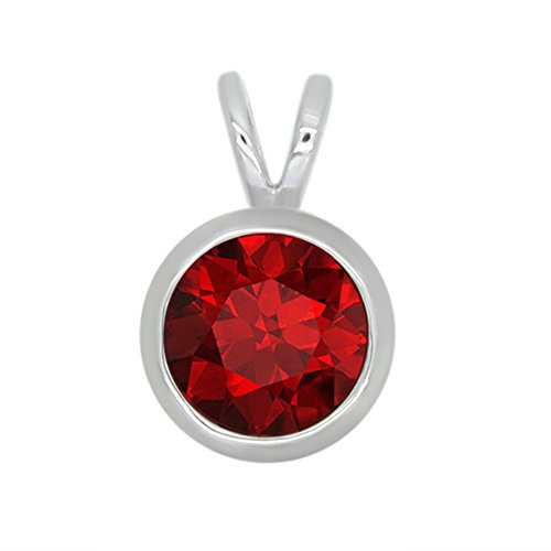 omega jewellery 1.00 Ct Round Simulated Red Ruby 925 Sterling Silver Bezel set Solitaire Pendant Without Chain For Women ()