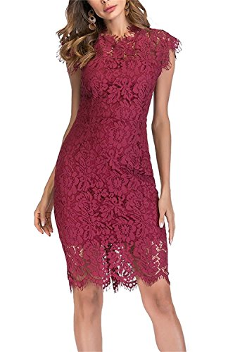 Women's Sleeveless Floral Lace Slim Evening Cocktail Mini Dress for Party DM261 (M, Wine Red)