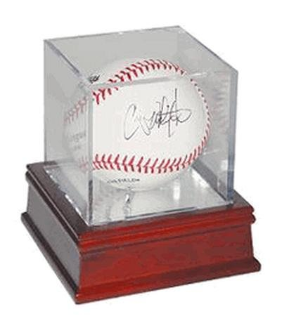 Autograph Display (BallQube Wood Base UV Protected Baseball Display Case/Holder