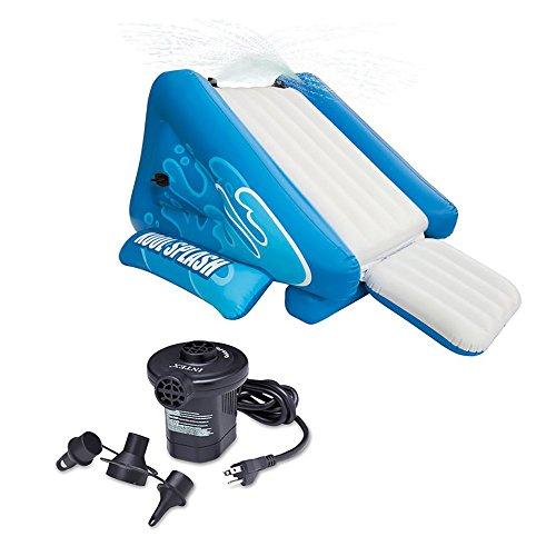 Intex Kool Splash Inflatable Swimming Pool Water Slide + Quick Fill Air Pump