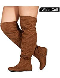 Wide Calf Women's Stretchy Over The Knee Slouchy Boots
