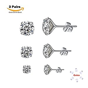 Poplar 3 Sizes Sterling Silver Stud Earrings Spectacular Cubic Zirconia Set in 925 for Men, Women, Boys and Girls. Stones are 4mm, 5mm and 6mm