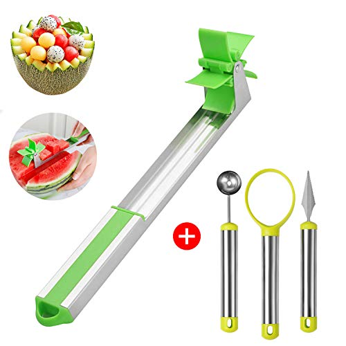 (4 pcs Watermelon Windmill Cutter Kit, MYRIANN Stainless Steel Fruit Slicer, Carving Knife, Peeler, Knife Tongs and Melon Baller, Security Vegetable tools Kitchen Gadgets FDA Approved)