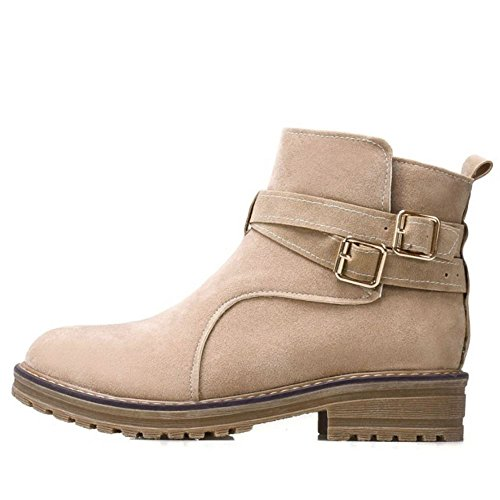 Booties Heel Comfortable Autumn Apricot TAOFFEN Ankle Women 282 Winter Low Round Toe anzx7Uqg