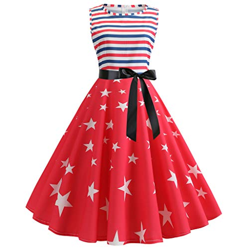 TOTOD Dress for Women, Fashion Women's Vintage Print Minidress Sleeveless Elegant Party Costume]()