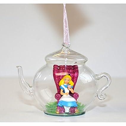 Amazon.com: Disneyland Paris Alice Glass Teapot Christmas Ornament ...