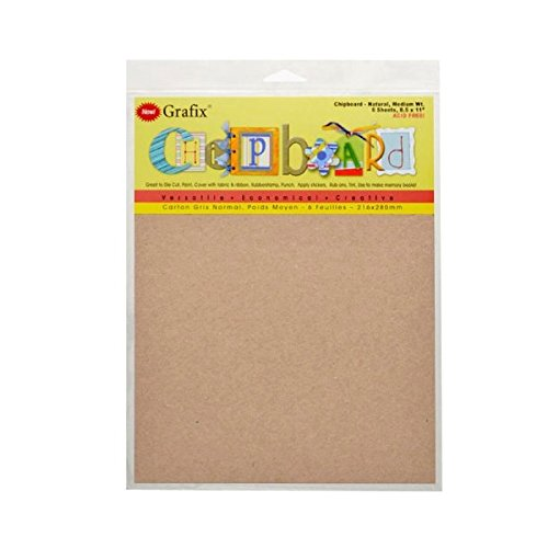 Grafix 8-1/2-Inch by 11-Inch Natural Chipboard Sheets, Pack of 6