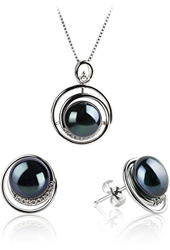 PearlsOnly - Kelly Black 9-10mm AA Quality Freshwater 925 Sterling Silver Cultured Pearl Set by PearlsOnly (Image #8)