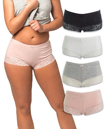 Sexy Lace Boyshort Panties (Emprella Womens Boyshort Panties With Lace Bottom (3-Pack) (Medium, Assorted))
