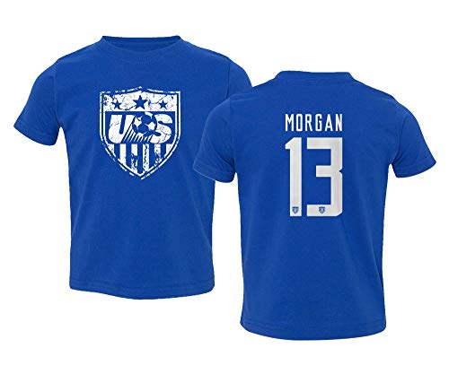 TURXIN New Soccer Shirt America USA National Team #13 Alex Morgan Little Kids Girls Boys Toddler T-Shirt (Royal, ()