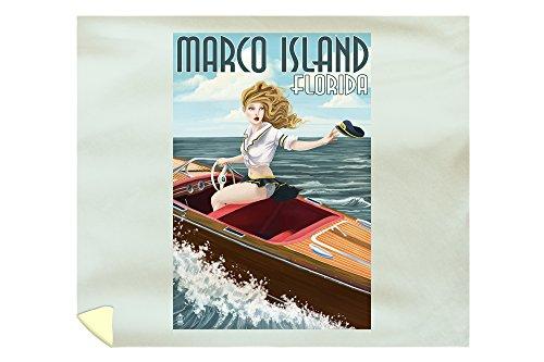 - Lantern Press Marco Island, Florida - Pinup Girl Boating 42858 (88x104 King Microfiber Duvet Cover)