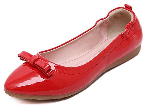 Aisun Damen Schleife Spitz Flats Geschlossen Ballerinas Rot