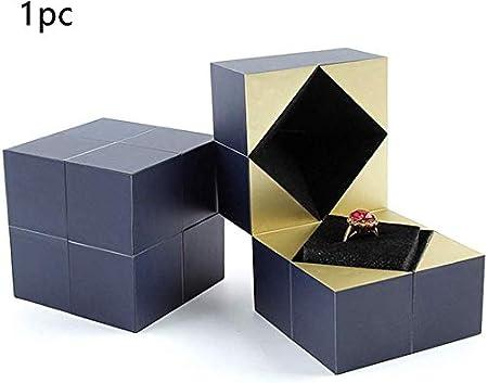 DUMGRN Anillo de Compromiso Caja, Mágico Cubo Joyería Expositor Anillo Estuche para Regalo Regalo de Boda - Azul, Tamaño Libre: Amazon.es: Hogar