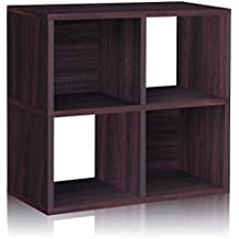 Way Basics Eco 4 Cubby Bookcase, Stackable Organizer and Storage Shelf, Espresso (made from sustainable non-toxic zBoard paperboard)