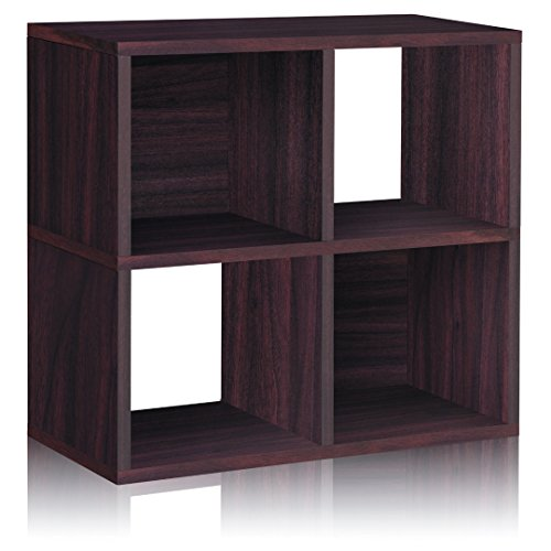Way Basics Eco 4 Cubby Bookcase, Stackable Organizer and Storage Shelf, Espresso Wood Grain (Tool-Free Assembly and Uniquely Crafted from Sustainable Non Toxic zBoard paperboard)