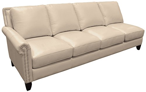 Omnia Leather Benjamin Left Arm 4 Cushion Sofa in Leather, with Nail Head, Softstations White Winter