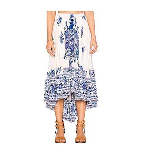 Mr.Macy Boho Skirt, Women Ladies Asymmetrical Tribal Floral Skirt Maxi Summer Beach Long Casual Skirt (S, - Long Beach Macys