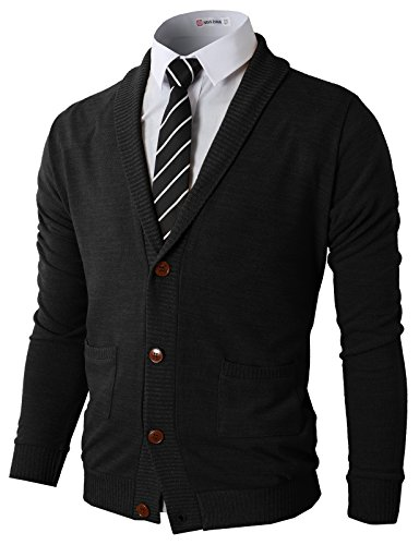 H2H Mens Slim Fit Casual V-Neck Knit Cardigan Sweater with Ribbing Edge Black US L/Asia XL (CMOCAL07) ()