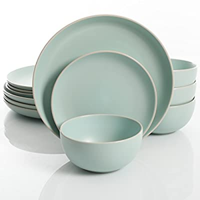 """Gibson Home Rockaway 12 Piece Dinnerware, Teal Matte - 114387.12RM - STYLISH DESIGN: soft matte glaze stoneware featuring an off-white edge along the rim great making Rockaway great for all occasions. WHAT'S IN THE BOX: Service for 4 that includes 4 of each of the following: 10.5"""" Dinner Plates, 8"""" Dessert Plates, 6"""" Bowls. MATTE GLAZE: a smooth, flat finish dipped in beautiful solid color creates a sleek and artistic addition to the table. - kitchen-tabletop, kitchen-dining-room, dinnerware-sets - 41p85ojxY5L. SS400  -"""