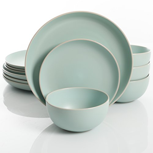 Gibson Home Rockaway 12-Piece Dinnerware Set Service for 4, Teal Matte