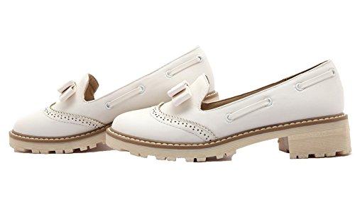 Amoonyfashion Womens Pull-on Pu Ronde-teen Lage Hakken Effen Pumps-schoenen Wit