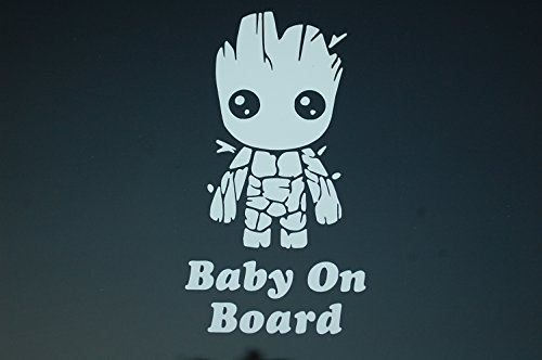 Baby On Board Baby Groot Sticker Vinyl Decal CHOOSE COLOR!! Car Window (V521) (White)
