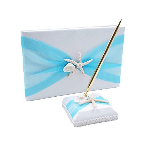 Abbie Home Organza Bowknot Wedding Guest Book + Pen + Pen Stand Set Romantic Beach Wedding Party Favor-Tiffany Blue