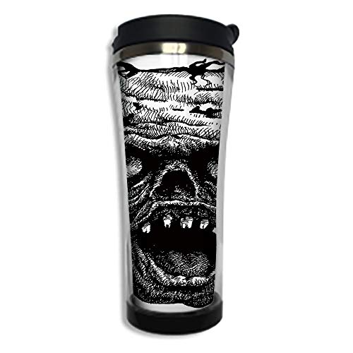 Customizable Travel Photo Mug with Lid - 14.2OZ(420 ml) Stainless Steel Travel Tumbler, Makes a Great Gift by,Halloween,Zombie Head Evil Dead Man Portrait Fiction Creature Scary Monster Graphic,Black