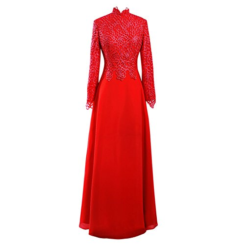 Da Collo Pizzo Da Bess Vestito Del Donne Sposa Di Rosso Chiffon Della Sposa Maniche Madre Lunghe Alto qF66Hw