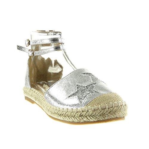 Angkorly Damen Schuhe Sandalen Espadrilles - Stern - Glitzer - Glänzende Blockabsatz 2.5 cm Silber