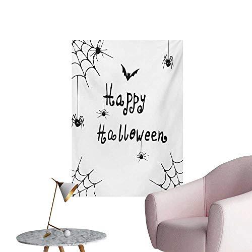 Anzhutwelve Spider Web Wallpaper Happy Halloween Celebration Monochrome Hand Drawn Style Creepy Doodle ArtworkBlack White W32 xL48 Custom Poster