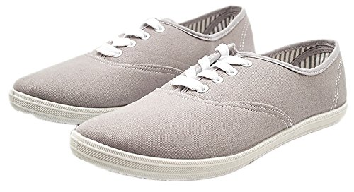Charles Albert Womens Canvas Lace Up Sneakers Shoes Grey jpAd7poy