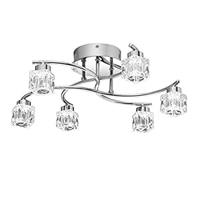 """Quoizel Lighting PCHL1718C Clear Hollow - 19.25"""" 24W 6 LED Flush Mount, Polished Chrome Finish with Clear Glass"""