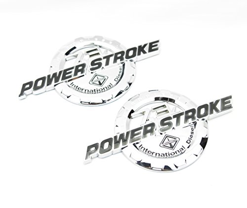 2 NEW CHROME FORD CUSTOM 7.3L F250 F350 POWERSTROKE INTERNATIONAL DOOR BADGES EMBLEMS SET PAIR (Custom Truck Emblems)