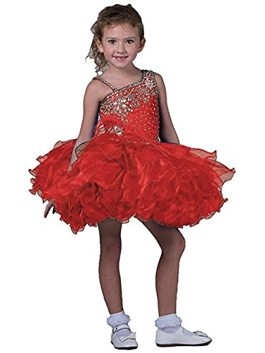 Price comparison product image Baby Girls' Beaded Ruffles Cupcakes Flowers Pageant Dresses Red 4Year Size