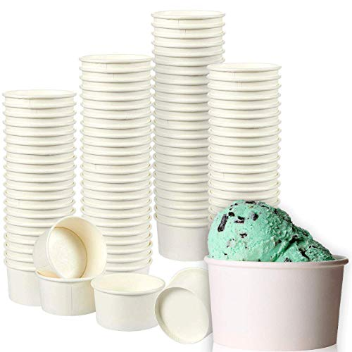 Juvale Ice Cream Sundae Cups - 100-Pack Disposable Paper Frozen Yogurt Dessert Bowls 8-Ounce, White -