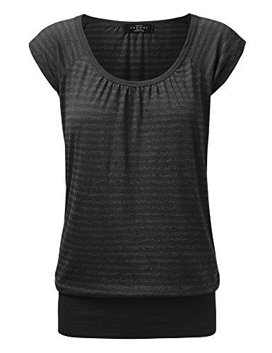 Spring Womens Cap Sleeve T-shirts (WT1358 Womens Scoop Neck Short Sleeve Stripe Sweerheart Top M BLACK_STRIPE)