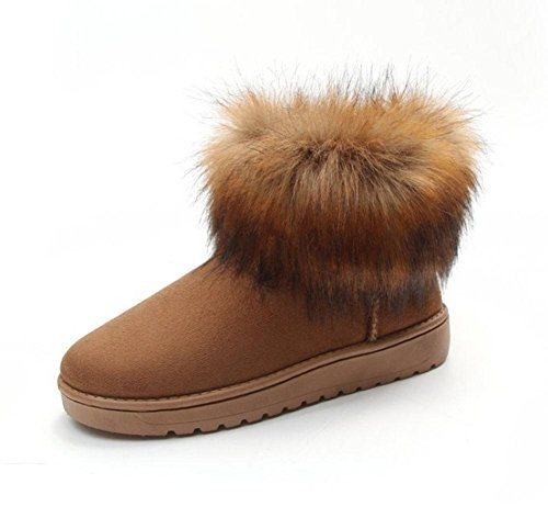 KUKI Damenstiefel, Damenschuhe, Schneeschuhe, Rundkopf, Wildleder, plus Samt, dick werdend, warm, kurze Stiefel maroon