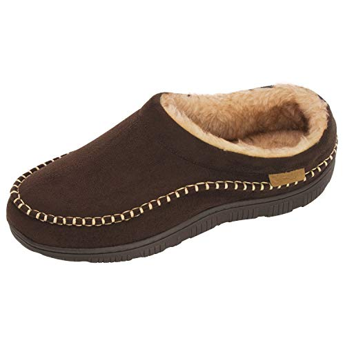 Zigzagger Men's Wool Micro Suede Moc Stitch Slippers House Shoes Indoor/Outdoor,Coffee,7-8 D(M) US