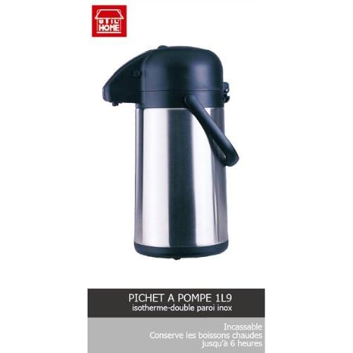 Utilhom 6615340 Pichet Pompe isotherme 1 L 9 Inox Double Paroi