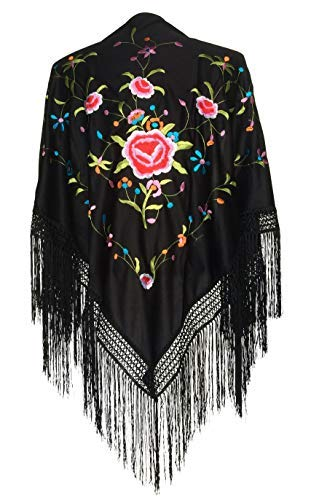 La Senorita Spanish Flamenco Dance Shawl black colored flowers Large]()