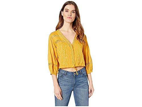 (Free People Women's Follow Your Heart Top, Gold, Large)