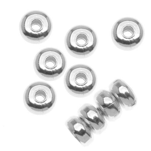 Beadaholique 144-Piece Heishe Spacers Beads, 4.5mm by 2.5mm, Silver Plated (Plated Heishe Spacers)