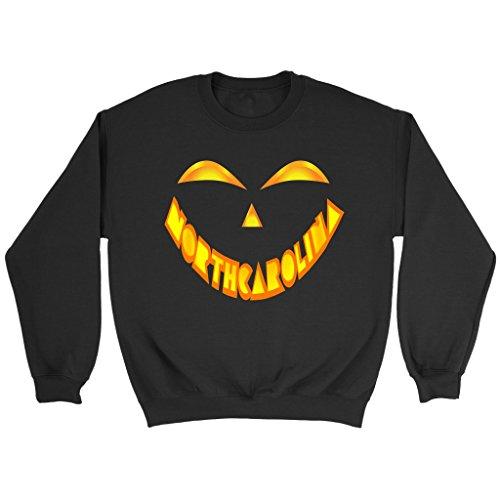 North Carolina Jack O' Lantern Pumpkin Face Halloween Costume Sweatshirt, 3XL -
