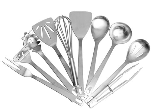 Stainless Steel Cooking Utensils (10-Piece Set); Kitchen Tool Set w/Whisk, Slotted Spatula, Plain Spatula, Potato Masher, Tongs, Spoon, Slotted Spoon, Soup Ladle, Spaghetti Server & Fork