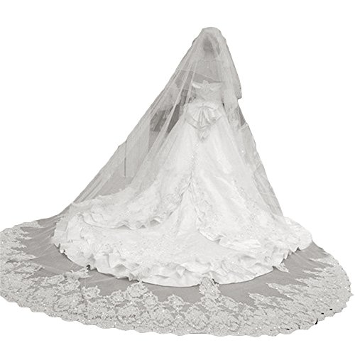 Newdeve 2 Tiers Bridal Veils Long Cathedral Veil For Wedding (White)